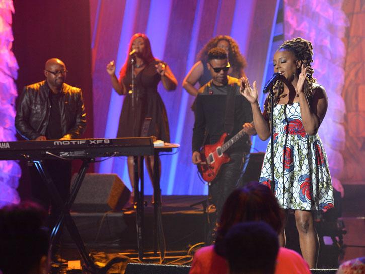 TV Show-Ledisi's Njema Helena Monica Dress on The Queen Latifah Show 2