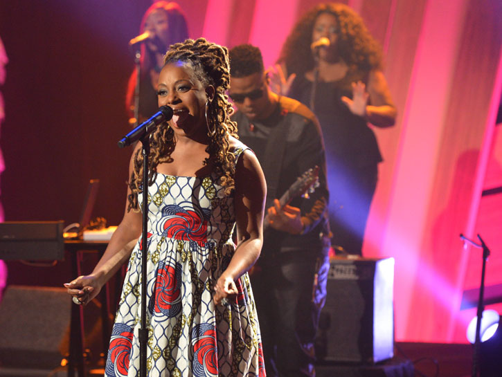 TV Show-Ledisi's Njema Helena Monica Dress on The Queen Latifah Show 3