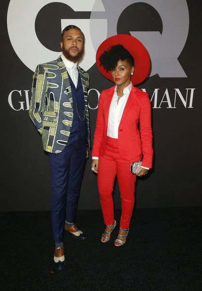 Jidenna and Janelle Monae at GQ:Gorgio Armani's 2015 Grammy After-Party 1