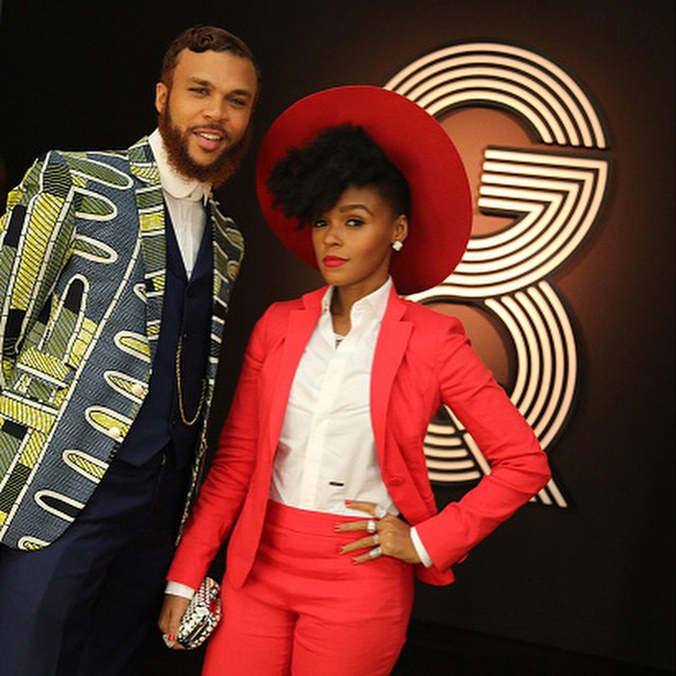 Jidenna and Janelle Monae at GQ:Gorgio Armani's 2015 Grammy After-Party 2