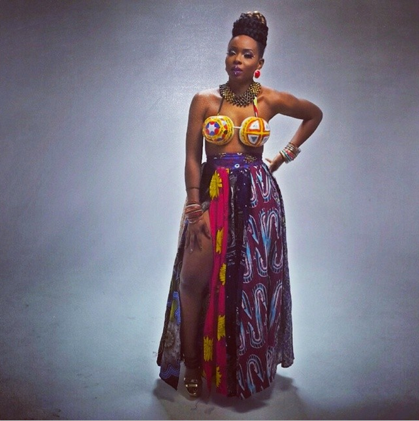 Music Video-Yemi Alade's Mixed Ankara Print Skirt in Tangerine Music Video 1