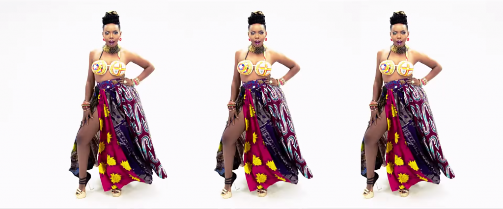 Music Video-Yemi Alade's Mixed Ankara Print Skirt in Tangerine Music Video