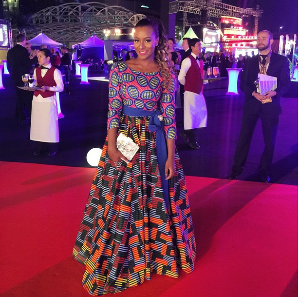DJ Cuppy in Mixed Print Ankara Gown to The 2015 Oil Barons Charity Ball in Dubai 1