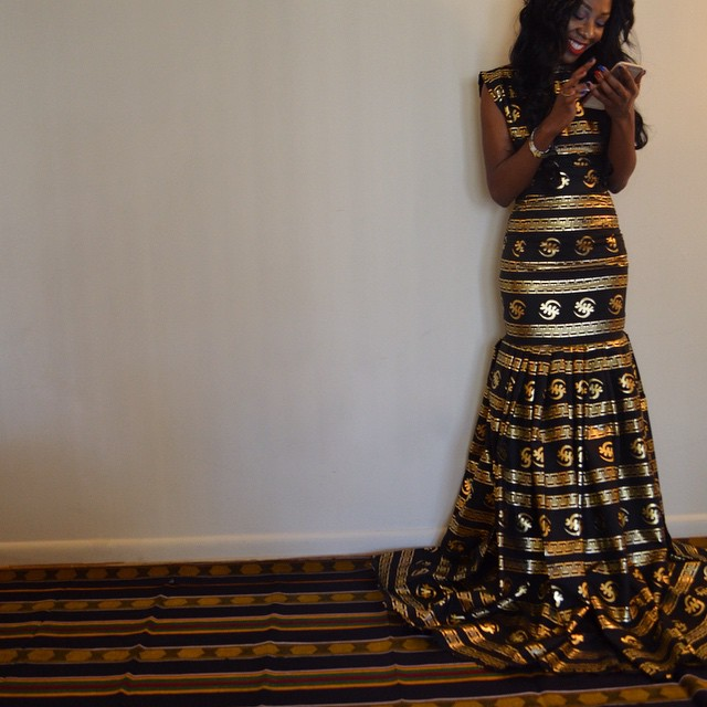 Gown-Sarah Mensah's Golden Gye Nyame Gown for the Ghana Independence Ball 2015 1