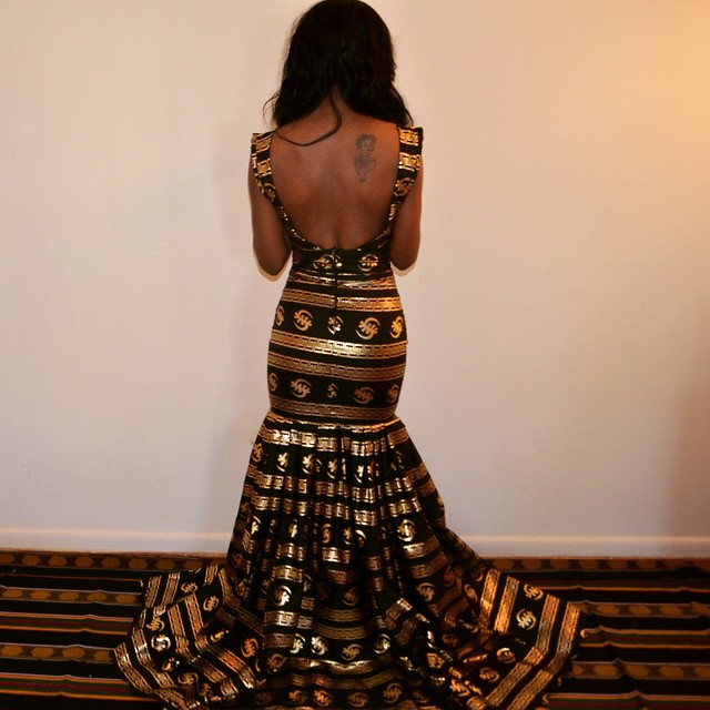 Gown-Sarah Mensah's Golden Gye Nyame Gown for the Ghana Independence Ball 2015 2