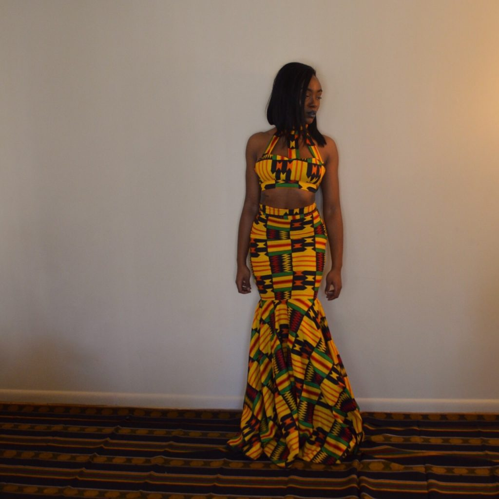 Jessica Chibueze's Ohemaa Closet Kente Print Two Piece Gown for The Ghana Independence Ball 2015 2