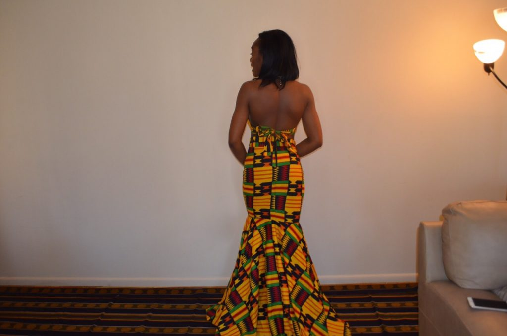 Jessica Chibueze's Ohemaa Closet Kente Print Two Piece Gown for The Ghana Independence Ball 2015 4