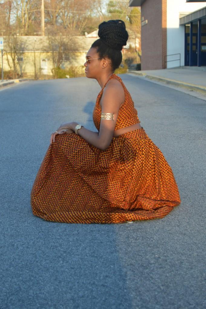 Nikki Billie Jean Red Ankara Print Crop Top &  Maxi Skirt 7