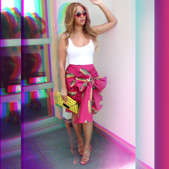 Beyoncé Spotted in Stella Jean Dugongo Printed Cotton Skirt 3