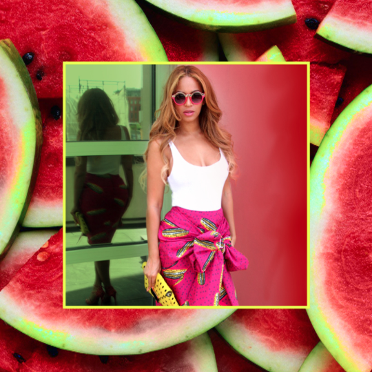 Beyoncé Spotted in Stella Jean Dugongo Printed Cotton Skirt 7