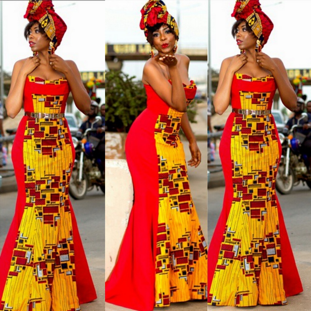 Nanawax's Red and Yellow Ankara Print Gown