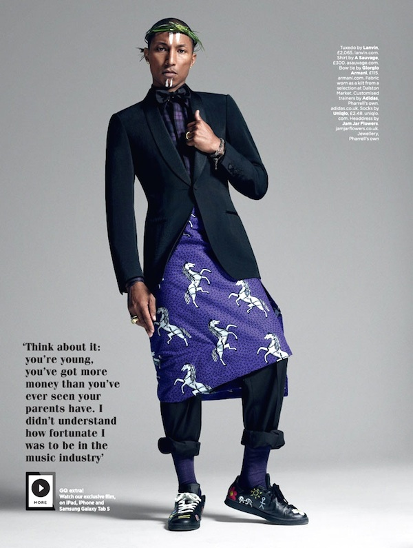 Pharrell Williams Wears Ankara Print Fabric as a Kilt in British GQ October 2014 Issue 2