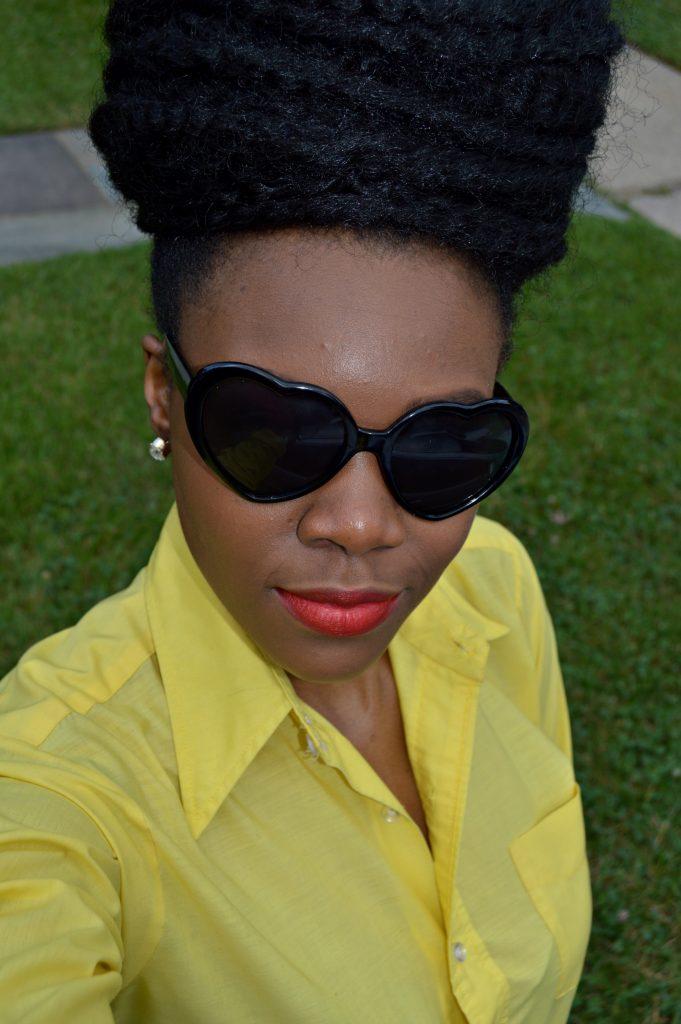 Nikki Billie Jean's Blue Ankara Print Shorts and Red Bowtie Bag for The Naturalista Hair Show 2014 5