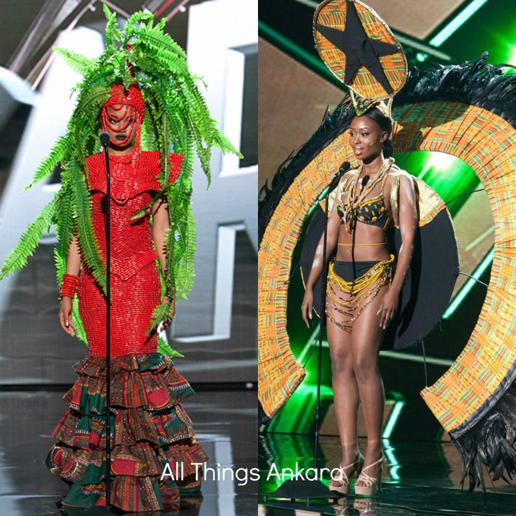 Miss Nigeria Universe Debbie Collins & Miss Ghana Universe Hilda Akua Frimpong National Costumes 2015
