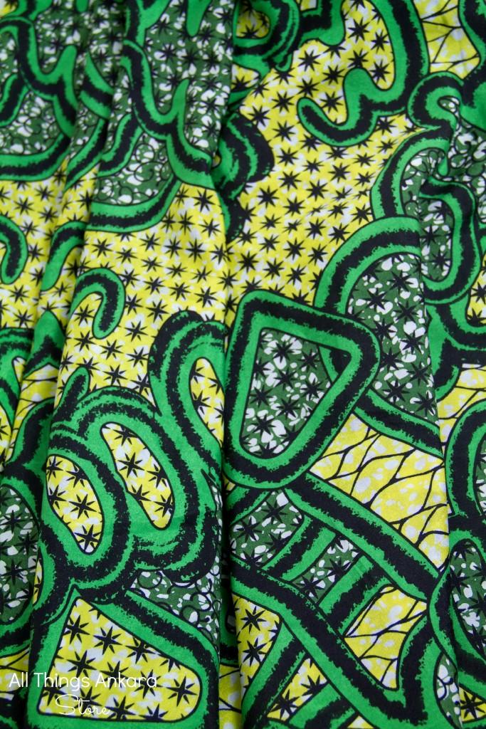 Yellow & Green Chiffon Ankara Print