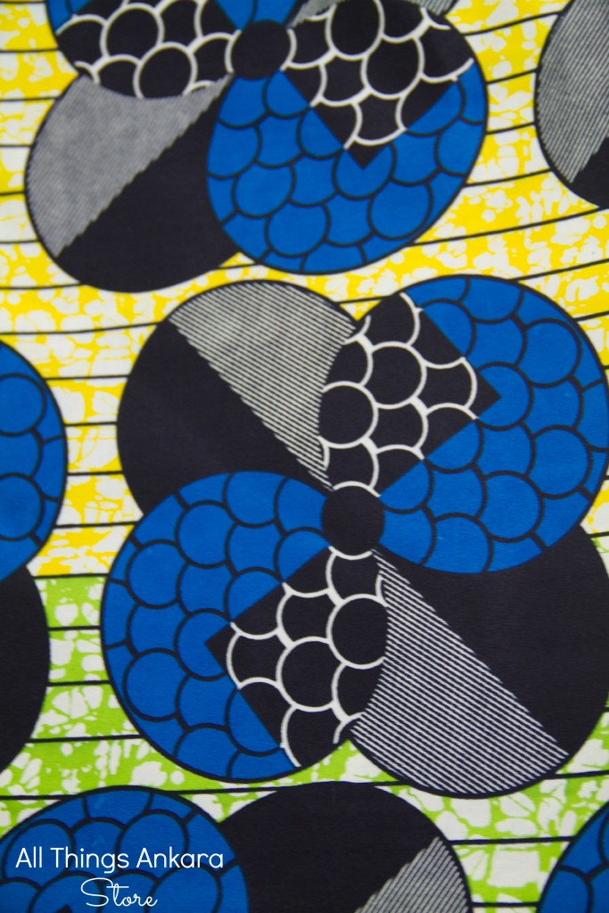 Blue Yellow Green Geometric Circles Wax Prints by Swagger