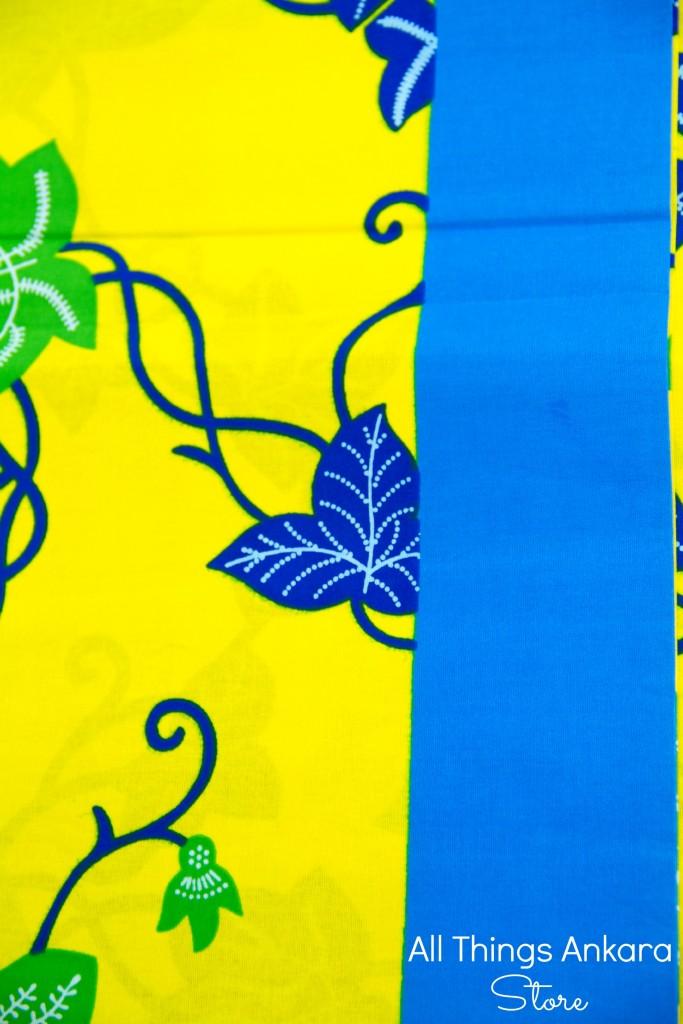 Blue, Yellow & Green Leaves Wax Block Prints by Phoenix Hitarget
