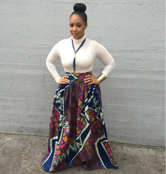 Celebritity Erica Campbell in a Chen Burkett Mel African Print Maxi Skirt