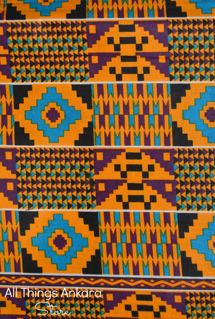 Orange, Teal, Purple & Black Kente Prints by Superb Prints 1