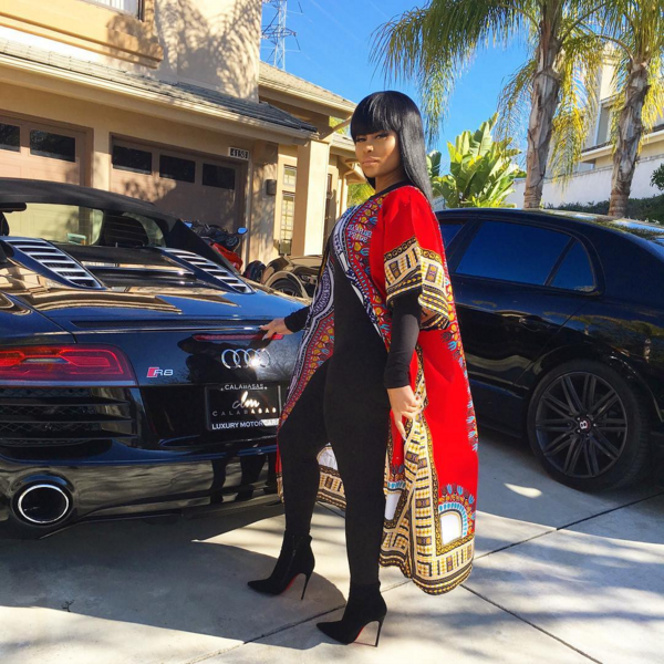 Blac Chyna in Dashiki Pride's Red Lond Dashiki Cardigan