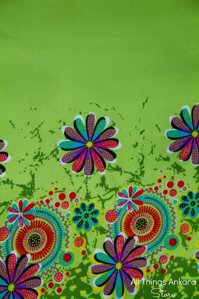 Green Multicolored Flowers Wax Prints by Swagger