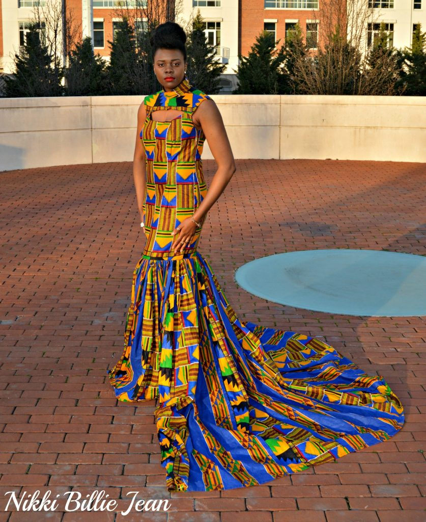 Nikki Billie Jean's Mixed Kente Print Gown for the Exquisite Ghana Independence Ball 2016 4