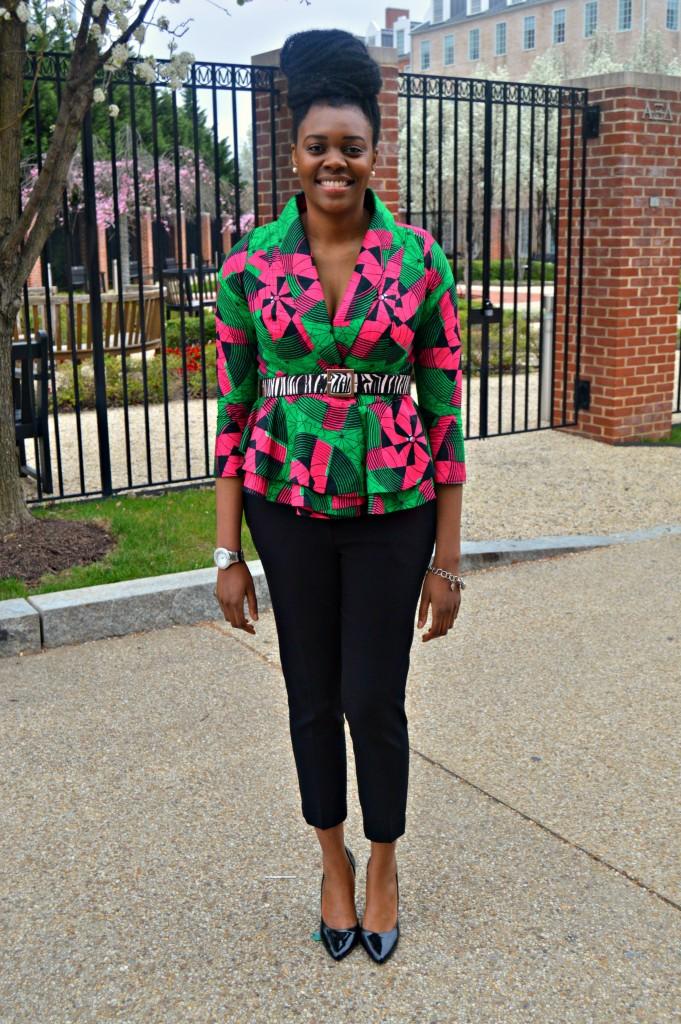 Nikki Billie Jean Pink and Green Ankara Print Peplum Jacket 10