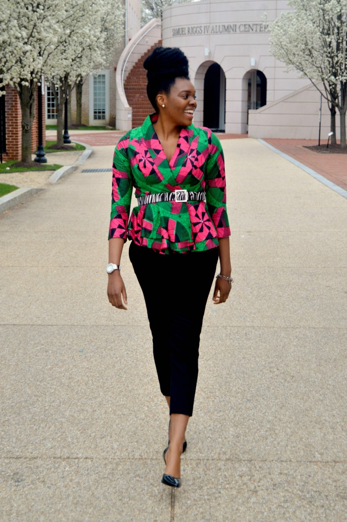 Nikki Billie Jean Pink and Green Ankara Print Peplum Jacket 2