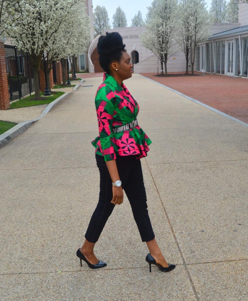 Nikki Billie Jean Pink and Green Ankara Print Peplum Jacket 3