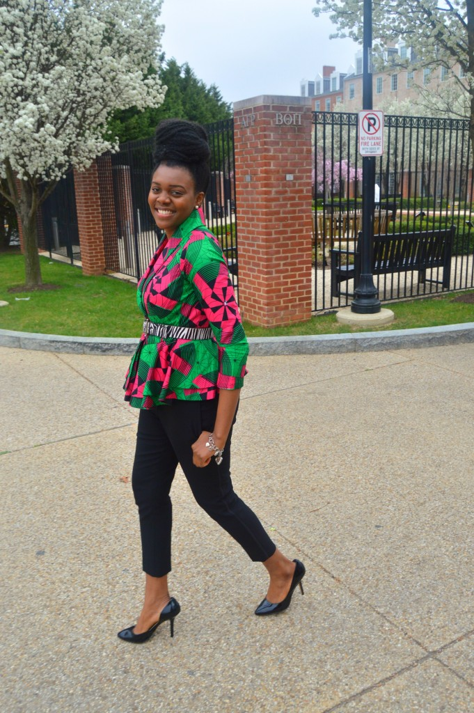 Nikki Billie Jean Pink and Green Ankara Print Peplum Jacket 6