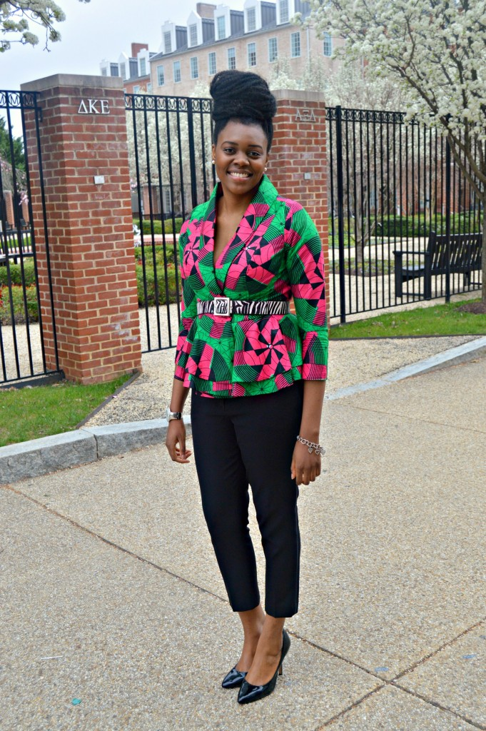 Nikki Billie Jean Pink and Green Ankara Print Peplum Jacket 8