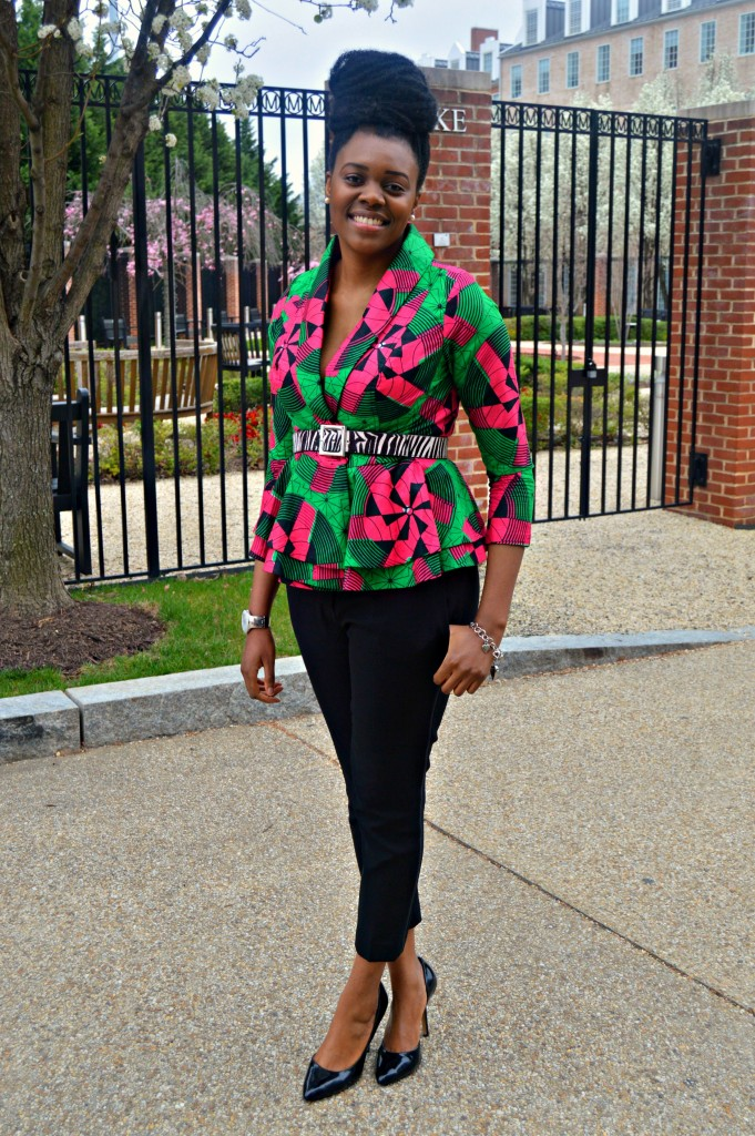 Nikki Billie Jean Pink and Green Ankara Print Peplum Jacket 9