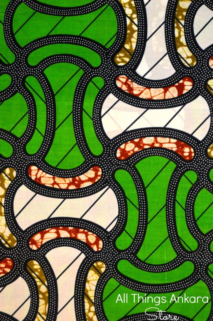 Green & White Nebuly Wax Prints