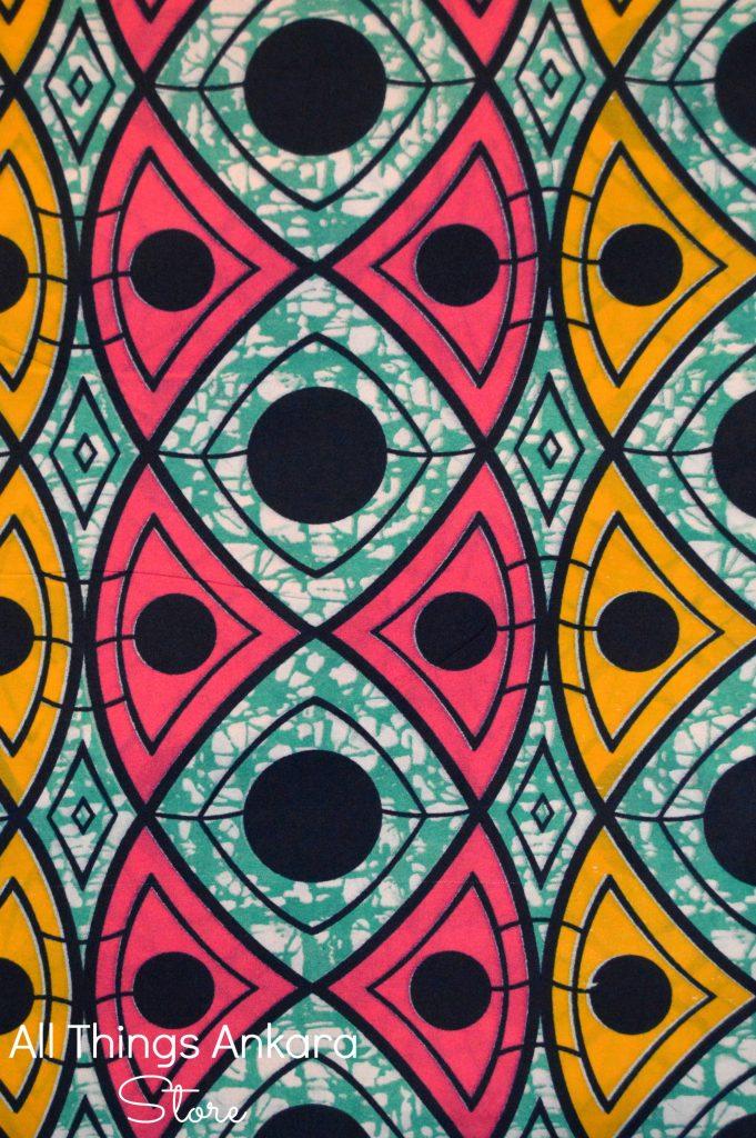 Teal Pink Yellow Black Triangular Dots Wax Prints