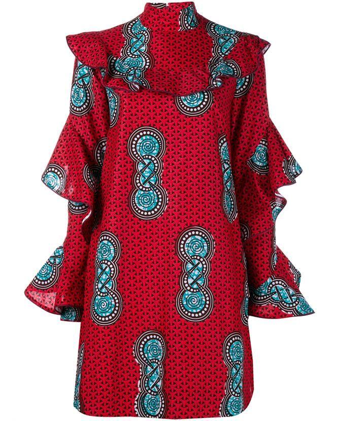 Beyoncé's Stella Jean Comandante Ruffle Sleeve Dress 4