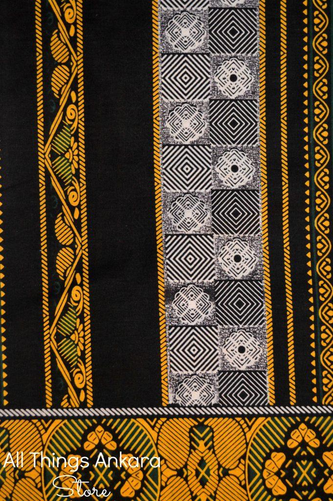 Black White Yellow Stripes Wax Prints