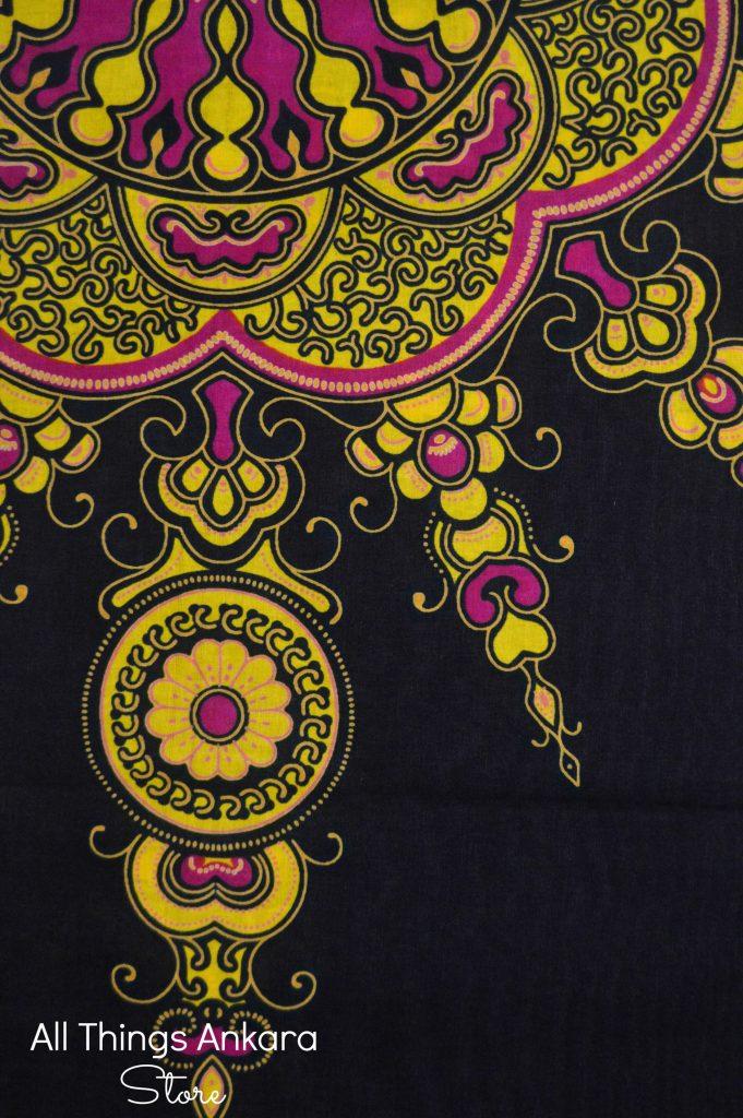 Black Yellow Pink Java Wax Prints