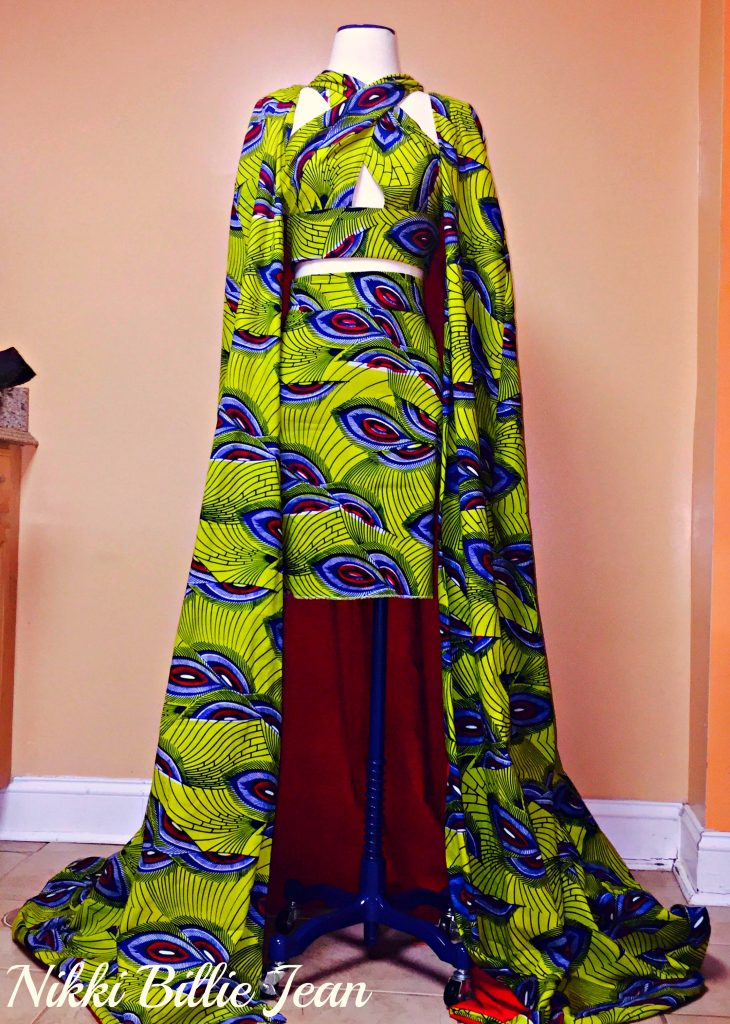 Kemi Ankara Print Cape Criss Cross Crop Top & High Waisted Pencil Skirt 1