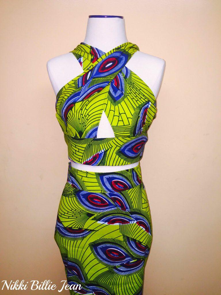 Kemi Ankara Print Cape Criss Cross Crop Top & High Waisted Pencil Skirt 2