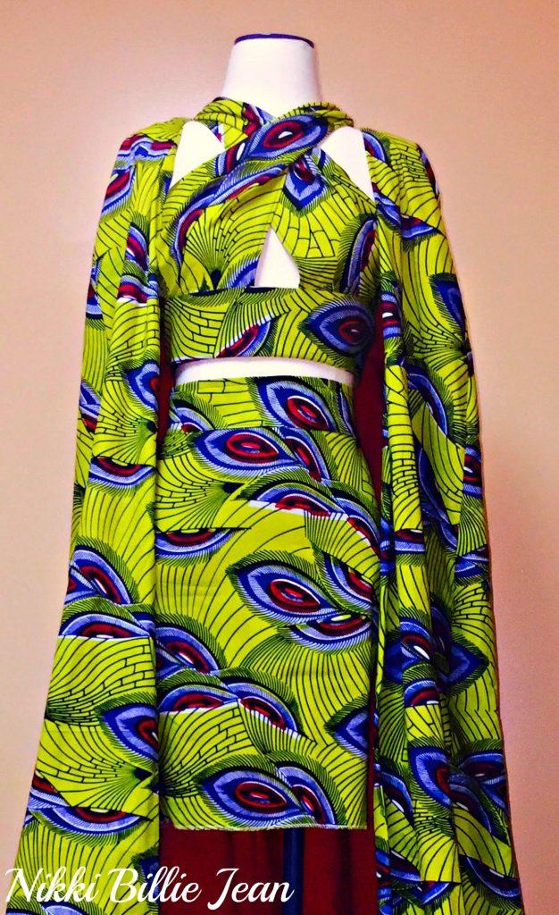 Kemi Ankara Print Cape Criss Cross Crop Top & High Waisted Pencil Skirt 3