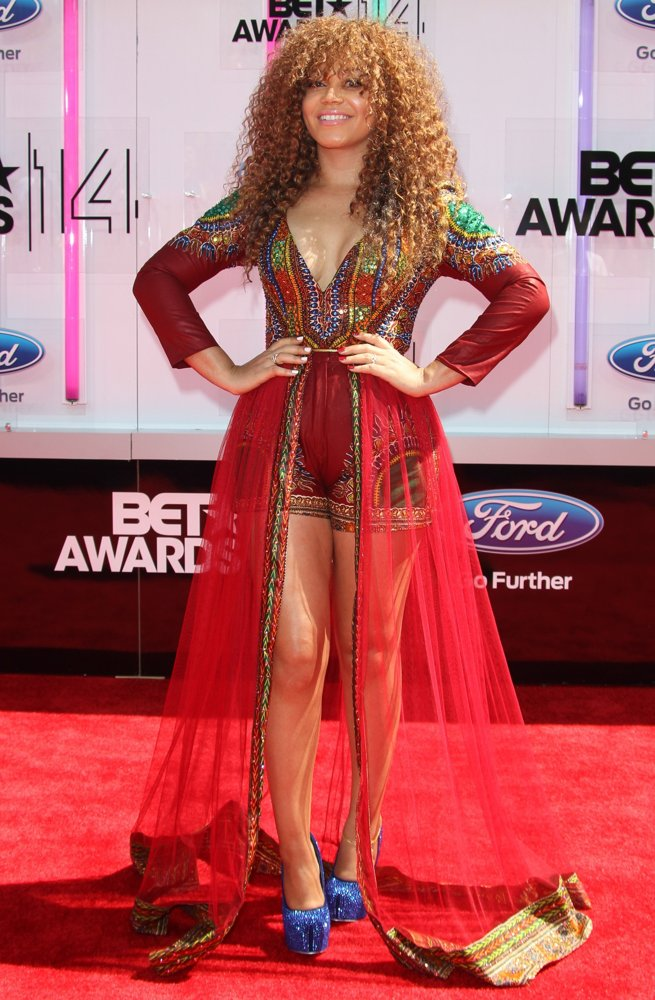 Award Show-Nadia Buari's PISTIS Dashiki Romper Gown on the BET Awards 2014 Red Carpet 1