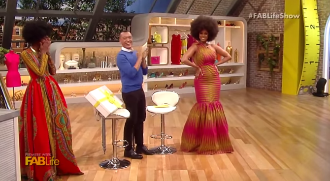 TV Show-Kyehma McEntyre Designs a Dress for Tyra Banks on the FABLife 2
