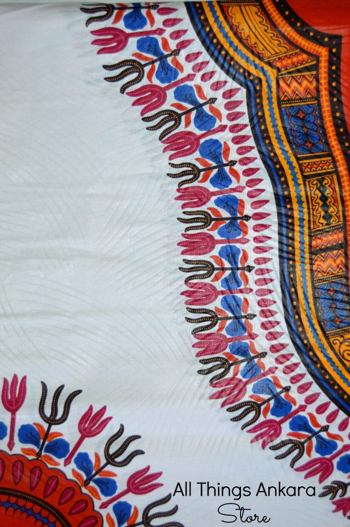 White Orange Burgundy Blue Dashiki Wax Block Prints