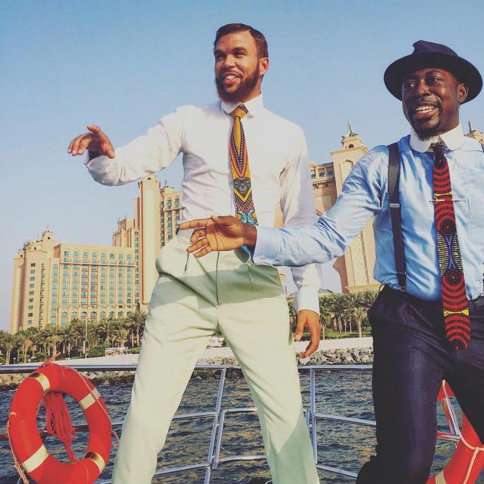 Ankara Photo of The Day-Jidenna and Nana Kwabena in Dubai Wearing Asikere Afana Ties