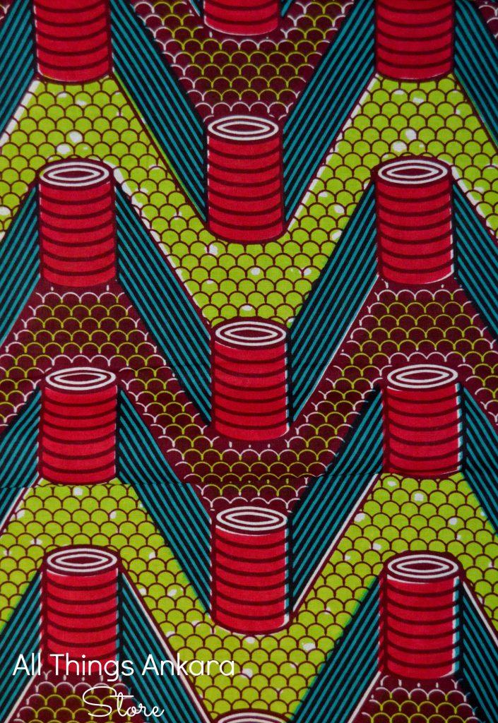 Maroon Brown Lime Green Stacks Wax Prints 1
