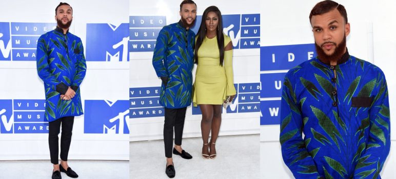 Award Show- Jidenna and Tiwa Savage on the MTV Awards 2016 Red Carpet