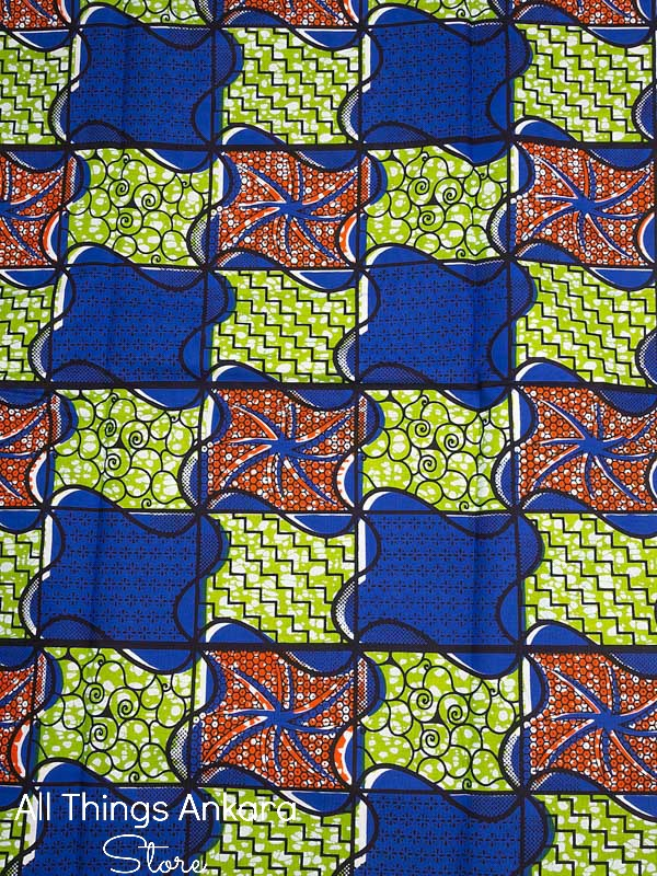 Blue Orange Lime Green Blocked Waves Wax Prints