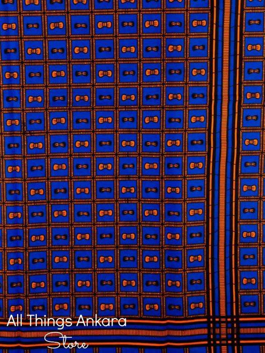 Blue Orange Squared Bowties Wax Prints