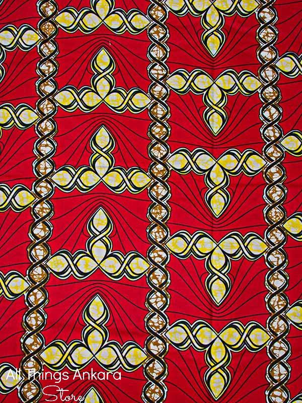 Red Yellow Black Brown Twisted Swirl Wax Prints