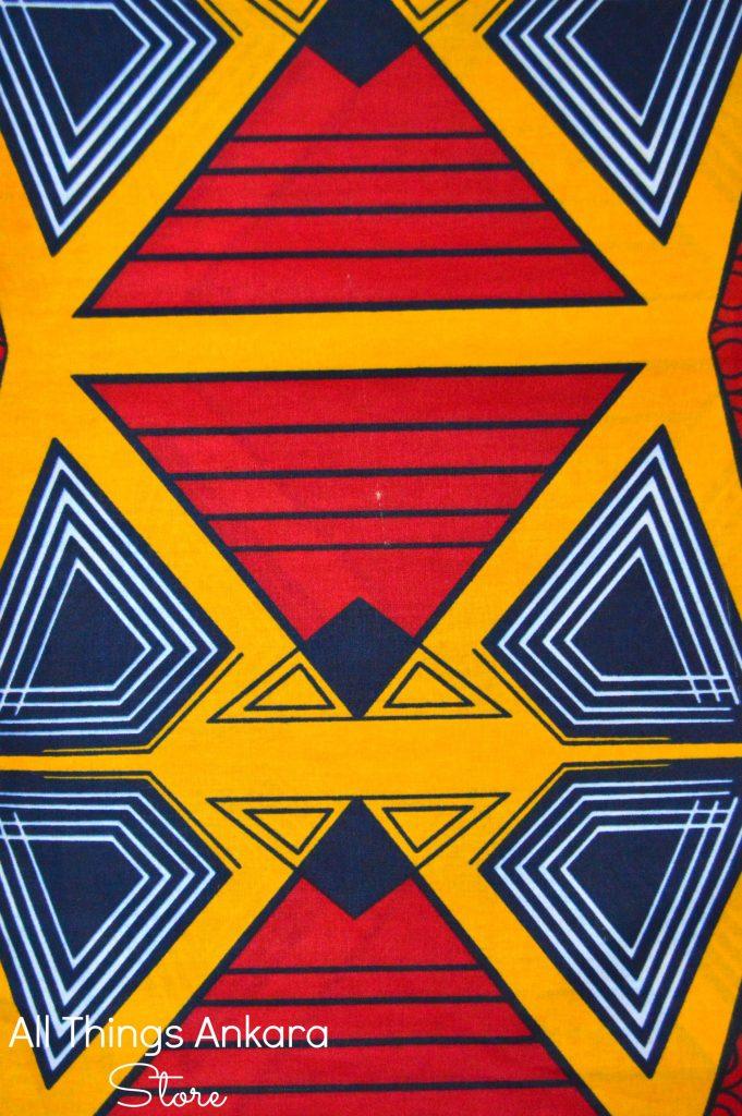 Red Yellow Navy Blue Yellow Geometric Wax Prints